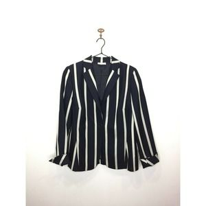 Akris Punto Blazer Blue Wool Striped Jacket 10